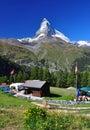 Matterhorn peak and a chalet Royalty Free Stock Photo