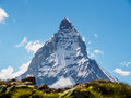 Matterhorn peak in sunny day view from gornergrat train station Royalty Free Stock Photo
