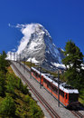 Matterhorn with railroad and train Royalty Free Stock Images