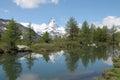 Matterhorn reflected in Grindjisee Royalty Free Stock Photo