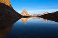 Matterhorn reflecton in Riffelsee after sunrise, Z Royalty Free Stock Photo