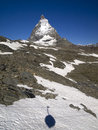 Matterhorn and the shadow of Swiss gondola Royalty Free Stock Photo