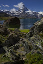 Matterhorn and Stellisee - beautiful landscape area around Zermatt Switzerland (Swiss, Suisse) Royalty Free Stock Photo