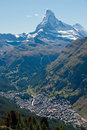 The Matterhorn towering over Zermatt Royalty Free Stock Photos