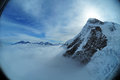 Matterhorn view in fisheye lens Royalty Free Stock Images