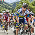 Matthew harley goss climbing alpe d huez france july the australian cyclist from orica greenedge team the difficult road to Stock Photos