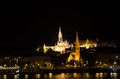 Matthias church and the Fisherman's Bastion at night in Budapest Royalty Free Stock Photo