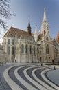 Matthias church with walk cobblestone steps at foreground a roman catholic seen Royalty Free Stock Photos