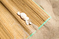 Matting on sand with shells Stock Photo