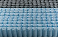 Mattress spring seal with blue and black fabric befor assemble inside the the image Stock Photos