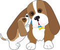 Mature basset hound nuzzled happy pup Royalty Free Stock Photography