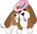Mature basset hound nuzzled happy pup Royalty Free Stock Photo