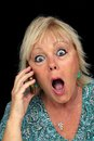 Mature Blonde Woman with Cell Phone (4) Royalty Free Stock Photos