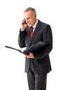 Mature business man with folder, phoning Royalty Free Stock Photo