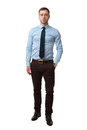 Mature business man full length isolated on white male in shirt standing background Royalty Free Stock Photo