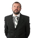 Mature business man thinking looking up Royalty Free Stock Photos