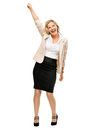 Mature business woman celebrating success smiling isolated on wh Royalty Free Stock Photo