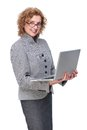 Mature Business Woman Holding Laptop Royalty Free Stock Photography