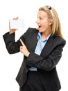 Mature business woman holding white placard pointing happy Royalty Free Stock Image