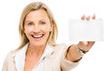 Mature business woman holding white placard smiling isolated on Stock Photos