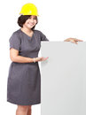 Mature business woman showing blank signboard with hard hat Stock Photography