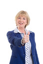 Mature business woman showing thumbs up Royalty Free Stock Photography