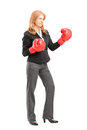 Mature businesswoman with red boxing gloves ready to fight Stock Photography
