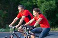 Mature couple on bicycle happy riding a in the green park Stock Photography