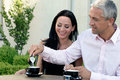 Mature couple in cafe Royalty Free Stock Photos