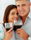 Mature couple drinking a glass of wine together Royalty Free Stock Images