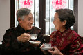 Mature couple drinking tea chinese Stock Image