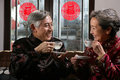 Mature couple drinking tea chinese Royalty Free Stock Photography