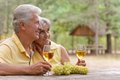 Mature couple drinking wine with bunch of grape at the table Stock Images