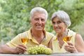 Mature couple drinking wine with bunch of grape at the table Stock Photography