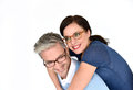 Mature couple with eyeglasses Royalty Free Stock Photo