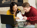 Mature couple and family pet working from home photo of along with cat together at with fireplace in background Royalty Free Stock Images