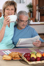 Mature couple having breakfast Stock Photo