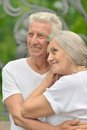 Mature couple hugging cute in love outdoors Stock Images
