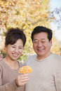 Mature couple looking at the leaf in the park Stock Image