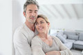 Mature couple relaxing at home portrait of Royalty Free Stock Photo