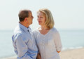 Mature couple at sea vacation loving Stock Photo