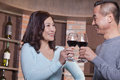 Mature couple at a winetasting toasting Stock Images