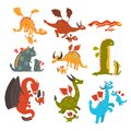 stock image of  Mature dragons and small baby dragons set, loving mothers and their kids, families of mythical animals cartoon