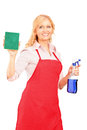 Mature female cleaner holding a liquid for spraying and a cloth Stock Photo