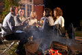 Mature Friends Enjoying Outdoor Evening Meal Around Firepit Royalty Free Stock Photo