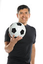 Mature Hispanic Man Holding Soccer Ball Stock Images