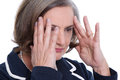 Mature lady headache has a migraine Stock Photography