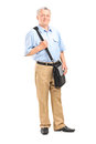 Mature mailman with a bag full length portrait of posing isolated on white background Royalty Free Stock Image