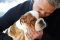 Mature Man Holding English Bulldog Puppy Royalty Free Stock Photo