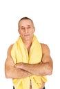 Mature man holding towel around neck Royalty Free Stock Photos